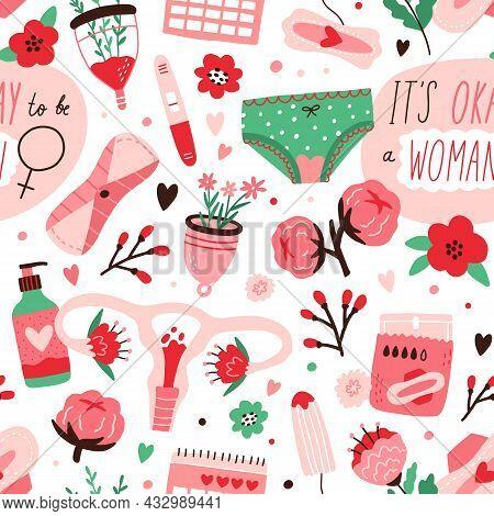 Seamless Pattern With Menstruation Blood, Women Underwear, Menstrual Cup, Reusable Sanitary Napkin,