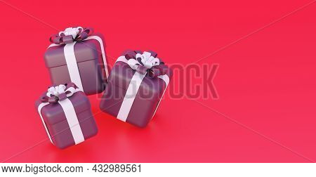 Black Friday Sale. Black Gifts On A Red Background. With An Empty Space For The Text. 3d Rendering.
