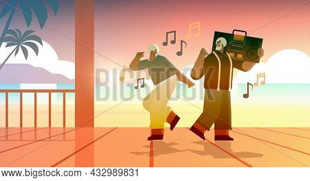 Senior Family With Bass Clipping Blaster Recorder Dancing And Singing Africna American Grandparents