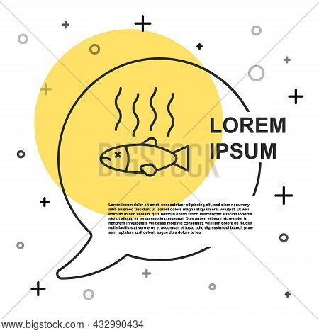 Black Line Dead Fish Icon Isolated On White Background. Rotten Fish. Random Dynamic Shapes. Vector