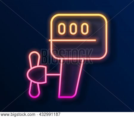 Glowing Neon Line Outboard Boat Motor Icon Isolated On Black Background. Boat Engine. Vector