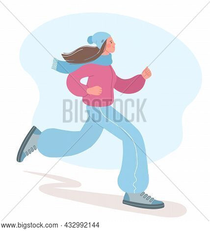 Beautiful Girl Is Engaged In Sports In The Cold Season. Illustration Of A Girl Jogging. Concept Of A