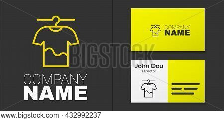 Logotype Line Drying Clothes Icon Isolated On Grey Background. Clean Shirt. Wash Clothes On A Rope W
