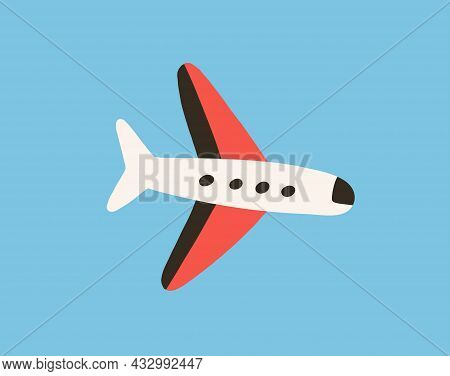 Air Plane Flying In Clear Sky. Flight Of Toy Aircraft. Doodle Airplane With Wings Fly. Traveling By