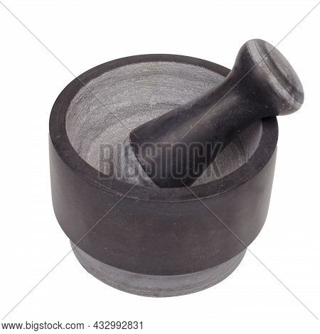 Mortar And Pestle Isolated On White Background.