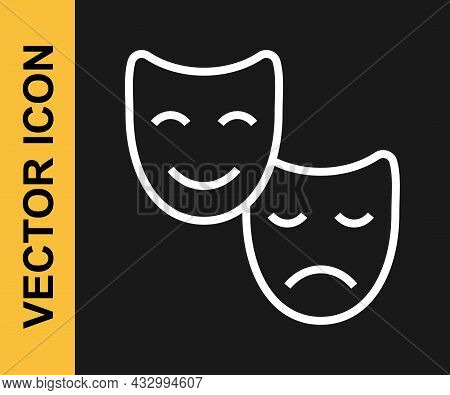 White Line Comedy And Tragedy Theatrical Masks Icon Isolated On Black Background. Vector