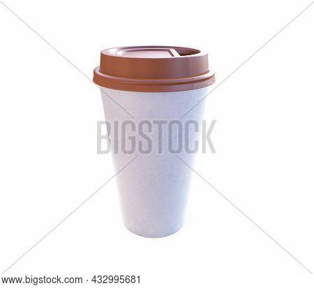 Takeaway Coffee Cup With Lid. 3d Render.