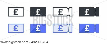 British Pound Money Sign. British Pound Coupon. Sign Of Payment By The British Pound. Vector Illustr