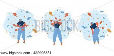 Vector Illustration Of Woman Sickness Illness Diseases