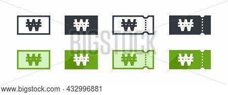 Korean Won Money Sign. Korean Won Coupon. Sign Of Payment By The Korean Won. Vector Illustration