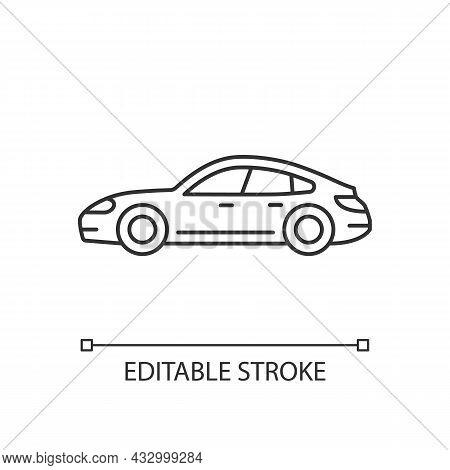 Sports Sedan Linear Icon. Luxury Passenger Vehicle. Four-door Sports Automobile. Stylish Car. Thin L