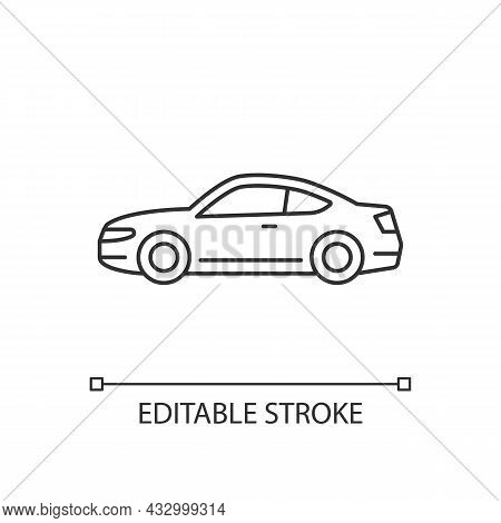Coupe Car Linear Icon. Two-door Sports Automobile. Performance-oriented Vehicle. Fixed Roof. Thin Li