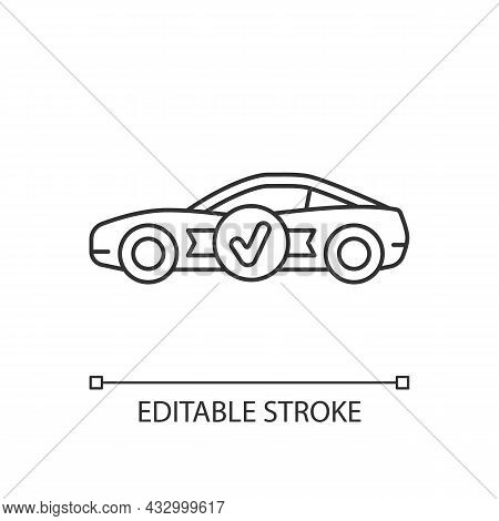 Car With Butterfly Doors Linear Icon. High-performance Sports Vehicle. Supercar Modifications. Thin