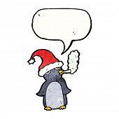 cartoon penguin in christmas hat smoking cigarette poster