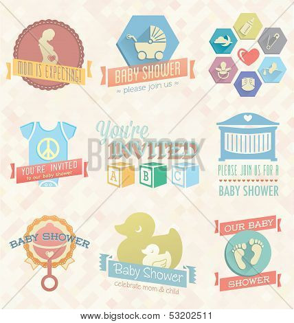 Vector Set: Baby Shower Invitation Labels and Icons
