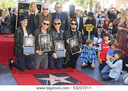 LOS ANGELES - OCT 30: Taylor Hawkins, John Densmore, , John Doe, Perry Farrell, Dave Navarro, Stephen Perkins, Chris Chaney - 'Jane's Addiction' - star Walk of Fame,October 30, 2013 in Los Angeles, CA