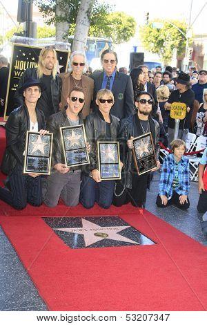 LOS ANGELES - OCT 30: Taylor Hawkins, John Densmore,John Doe, Perry Farrell, Dave Navarro, Stephen Perkins, Chris Chaney - 'Jane's Addiction' - star - Walk of Fame, October 30, 2013 in Los Angeles, CA