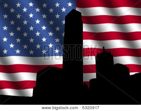 Dallas Skyline With Rippled Flag