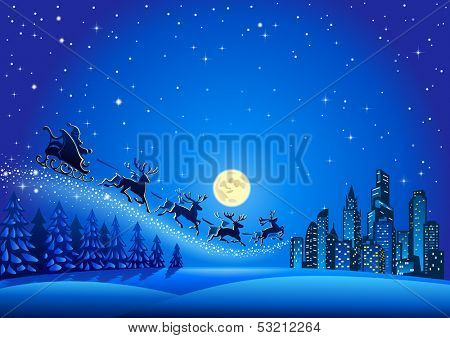 Christmas Santa Descending to the Big City