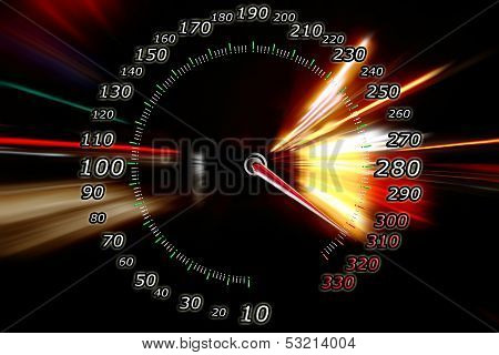 acceleration speed motion on a abstract speedometer poster