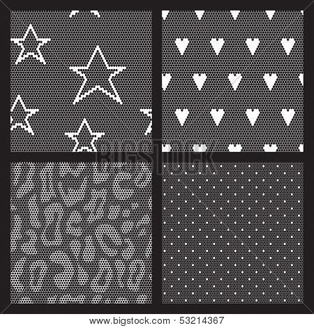 Set of lace vector fabric seamless patterns.