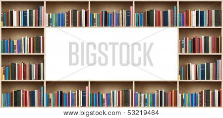 Books on wooden shelves with copy space.