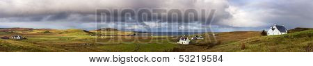 Panorama of the countryside and cottages typical to the Isle of Skye, Inner Hebrides, Scotland