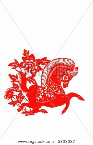 These paper cutting show that Chinese Zodiac such as rat ox tiger. poster
