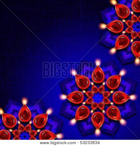 Oil Lamp With Diwali Diya Elements Over Dark Background
