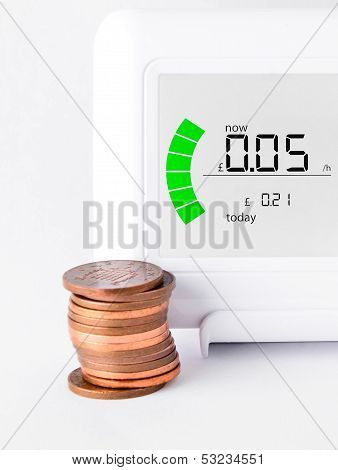 House Energy Meter Showing The Cost Per Hour For Electricity Usage