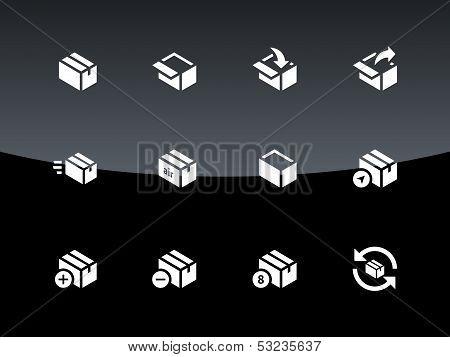 Box icons on black background.