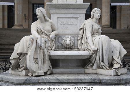 Deatil On The Schiller Statue Outside Concert Hall, Berlin