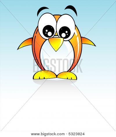 Colorful Cartoon Style funny penguin with light blue background poster