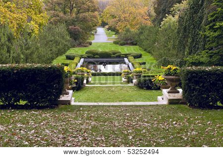 Formal Garden Terraces And Pool