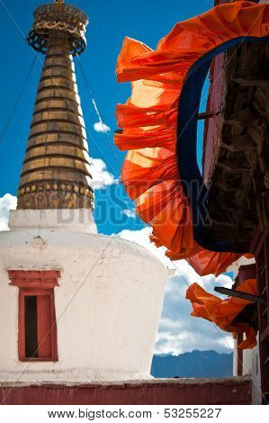 Buddhist stupa ( chorten ) over blue sky
