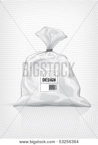 Transparent bag. Sketch style