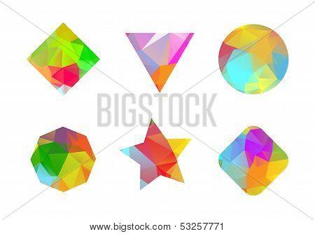 Set of colored geometric polygonal shapes.