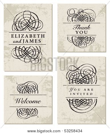 Vector Fancy Ornament Set and Distress Background. Easy to edit. All pieces are separated, including distress overlay.