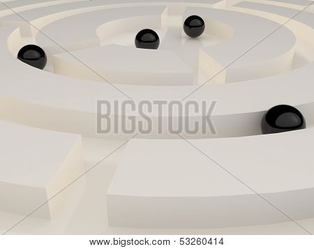 Black spheres in an abstract maze