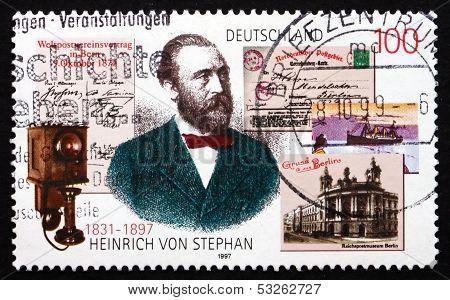 Postage Stamp Germany 1997 Heinrich Von Stephan, Postmaster Gene