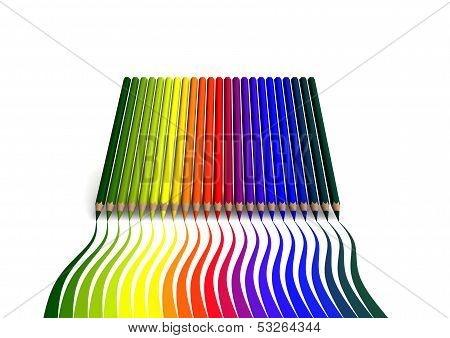 Crayons With Wavy Color Trace