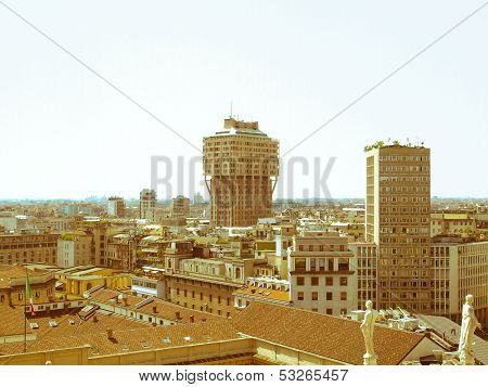 Vintage look View of the city of Milan Milano in Italy poster