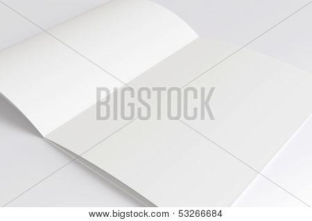 Blank Opened Magazine Isolated On White