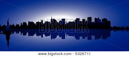 silhouette of the skyline of new york poster