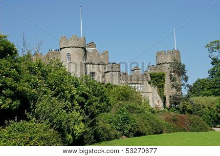 Front view of the historic 14 th century Malahide castle, Ireland, Europe