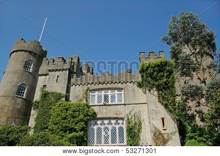 View of the historic 14 th century Malahide castle, Ireland, Europe