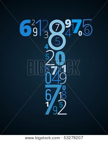 Letter T, vector font from numbers