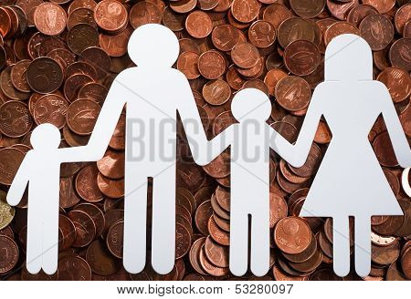 Paper family on euro coins