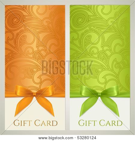 Gift card / tag, Gift certificate, Coupon, Voucher template with gift bow (ribbon, present)