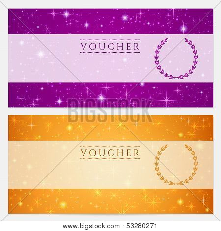 Voucher,Gift certificate, Coupon with sparkling, twinkling stars (blank template)